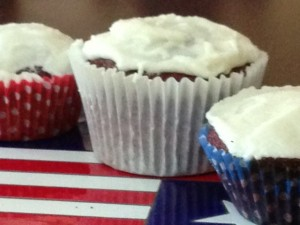 Red, white and blue cupcakes from our kitchen