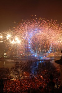 New Year's Eve fireworks at the London Eye