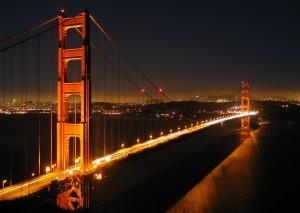 San Francisco's Golden Gate bridge by night