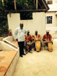 Maurice and the drummers who givea Benin flavour to  Lakaou Lakay