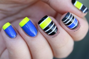Neon Tape Stripes Mish-Mash Nail Art inspired by Work Play Polish-1