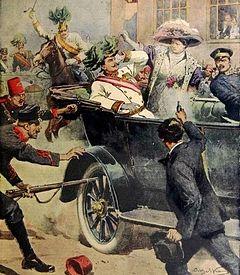 Italian paper Domenica del Corriere depicts Gavrilo Princip killing Archduke Francis Ferdinand of Austria in Sarajevo