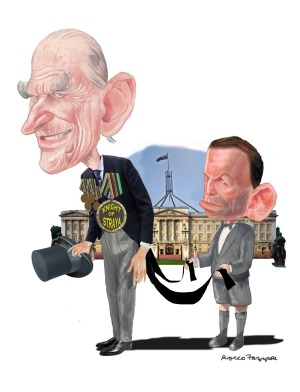 This Sydney Morning Herald cartoon shows that Prime Minister Tony Abbott's fate is joined to that of Prince Philip