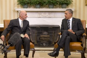 Afghanistan's President Ashraf Ghani with President Barack Obama at the White House
