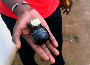 A Chinese-made grenade for sale in Bangui for just a dollar