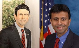 Bobby Jindal (right) and the portrait that shows him a lot whiter