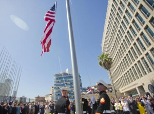 The Marines raise the US flag over the newly reopened embassy in Havana