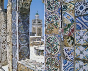 The Grand Mosque of Tunis is decorated with colorful tiles