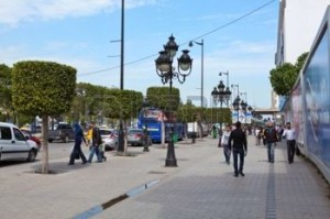 Avenue Bourghiba, the  central thoroughfare of Tunis. Note the carefully clipped trees