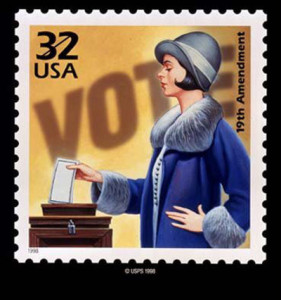 The stamp that commemorates American women's right to vote
