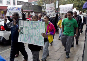 A march in Lewiston, Maine, in October 2012, asking the city's mayor to resign because of comments he made about Somali refugees