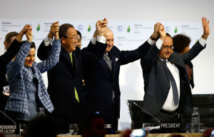 Leaders after the final conference at the COP21, the United Nations conference on climate change, in Le Bourget, north of Paris