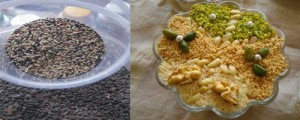 The black seeds of the Aleppo pine and (right) the finished dish