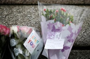 Flowers in tribute to Jo Cox are seen near the scene where she was killed in Birstall, near Leeds