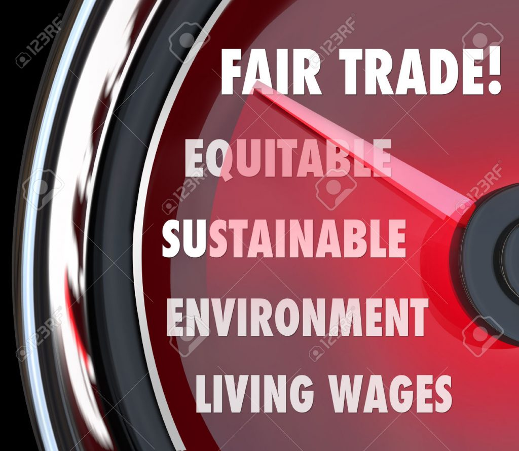 Fair Trade words on a speedometer or gauge measuring living wages, sustainability, environmental impact and equity in import and export standards