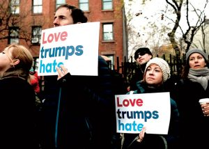 Demonstrators participate in an anti-hate rally at a Brooklyn park, in New York City, after it was defaced with swastikas on November 20th. (AFP)