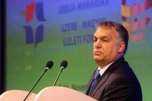 Hungarian prime minister Viktor Orban speaks during the Serbian-Hungarian business forum in Nis, Serbia. Djordje Savic /EPA