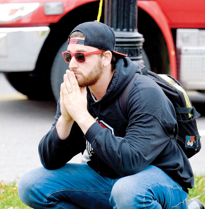 A student after the attack on the campus of Ohio State University on November 28th in Columbus, Ohio. (AP)