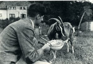 With his goat