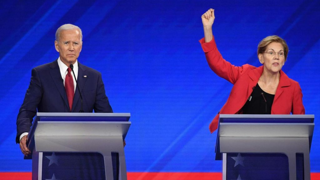 Democratic presidential hopefuls Joe Biden and Elizabeth Warren at the last primary debate. Robyn Beck / AFP